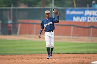 Helena Brewers second baseman Yeison Coca (2) during a Pioneer League game against the Grand Junction Rockies at Kindrick Legion Field on August 19, 2018 in Helena, Montana. The Grand Junction Rockies defeated the Helena Brewers by a score of 6-1. (Zachary Lucy/Four Seam Images)