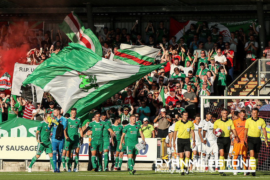 Both teams enter the field ahead of the UEFA Champions League First Qualifying Round First Leg between Cork City and Legia Warsaw on Tuesday 10th July 2018 at Turners Cross, Cork. Photo By Michael P Ryan