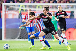 Julian Baumgartlinger (r) of Bayer 04 Leverkusen fights for the ball with Yannick Ferreira Carrasco of Atletico de Madrid during their 2016-17 UEFA Champions League Round of 16 second leg match between Atletico de Madrid and Bayer 04 Leverkusen at the Estadio Vicente Calderon on 15 March 2017 in Madrid, Spain. Photo by Diego Gonzalez Souto / Power Sport Images