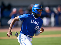 IMG Academy Ascenders James Wood (23) runs to first base during a game against the Lakeland Dreadnaughts on February 20, 2021 at IMG Academy in Bradenton, Florida.  (Mike Janes/Four Seam Images)