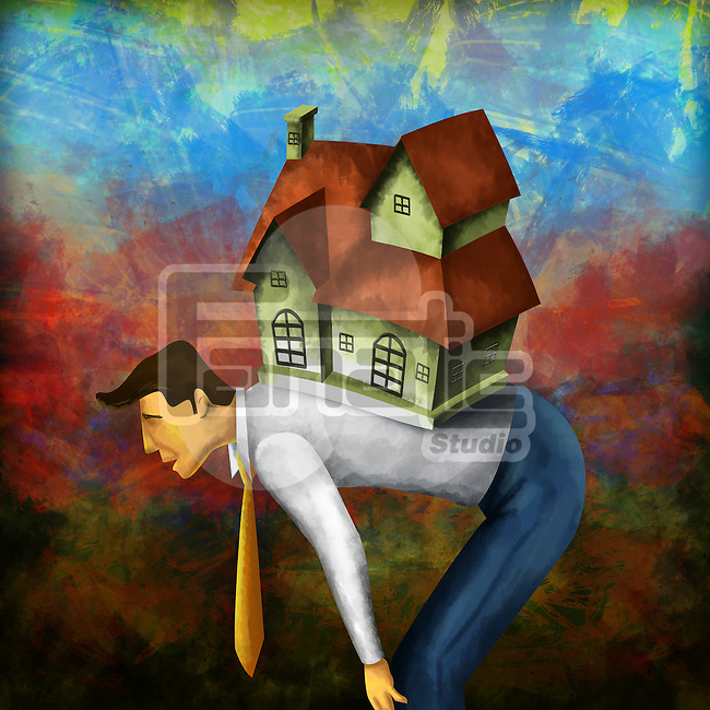 Side view of a businessman bending with model home on back depicting home loan burden