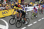 Bradley Wiggins and Michael Rogers (AUS) Sky Procycling cross the finish line at the end of Stage 3 of the 99th edition of the Tour de France 2012, running 197km from Orchies to Boulogne-sur-Mere, France. 3rd July 2012.<br /> (Photo by Eoin Clarke/NEWSFILE)