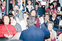 People listen as Texas senator and Republican presidential candidate Ted Cruz speaks at The Village Trestle restaurant in Goffstown, New Hampshire, on Wed., Feb. 3, 2016.