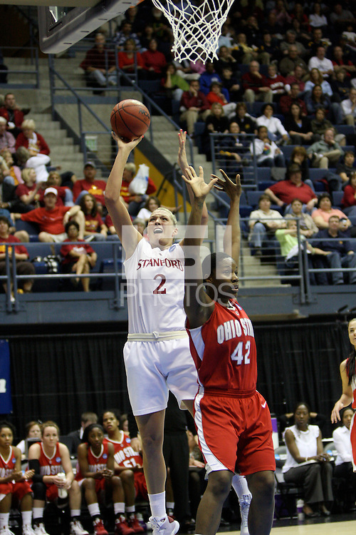 BERKELEY, CA - MARCH 30: Jayne Appel working the post out maneuvering her defender during Stanford's 84-66 win against the Ohio State Buckeyes on March 28, 2009 at Haas Pavilion in Berkeley, California.