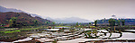Vietnam Panorama - Rice terraces in north-west Vietnam.<br /> <br /> Image taken on large format panoramic 6cm x 17cm transparency. Available for licencing and printing. email us at contact@widescenes.com for pricing.