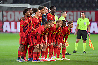team picture Belgium ( Lois Openda (7) , Marco Kana (16) , Arthur Theate (5) , Koni De Winter (14) , goalkeeper Maarten Vandevoordt (1) , Amadou Onana (6) and Logan Ndenbe (22) , Hugo Siquet (2) , Yorbe Vertessen (9) , Eliot Matazo (15) , Yari Verschaeren (10) ) before a soccer game between the national teams Under21 Youth teams of Belgium and Denmark on the fourth matday in group I for the qualification for the Under 21 EURO 2023 , on tuesday 12 th of october 2021  in Leuven , Belgium . PHOTO SPORTPIX   STIJN AUDOOREN