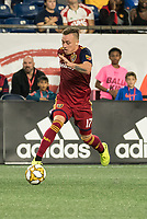 FOXBOROUGH, MA - SEPTEMBER 21: Corey Baird #17 of Real Salt Lake brings the ball forward during a game between Real Salt Lake and New England Revolution at Gillette Stadium on September 21, 2019 in Foxborough, Massachusetts.