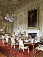 The elaborate decoration in the State Dining Room was completed in 1784 by the French painters Girard and Guinand whose work survives only at Inverary Castle