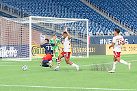 FOXBOROUGH, MA - JUNE 26: Damian Rivera #72 of the New England Revolution is fouled in the New England Revolution II penalty box during a game between North Texas SC and New England Revolution II at Gillette Stadium on June 26, 2021 in Foxborough, Massachusetts.