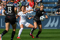 BRIDGEVIEW, IL - JULY 18: Rachel Hill #5 of the Chicago Red Stars plays the ball during a game between OL Reign and Chicago Red Stars at SeatGeek Stadium on July 18, 2021 in Bridgeview, Illinois.