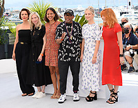 CANNES, FRANCE. July 6, 2021: Maggie Gyllenhaal, Jessica Hausner, Mati Diop, jury president Spike Lee, Melanie Laurent & Mylene Farmer at the photocall for the Jury at the 74th Festival de Cannes.<br /> Picture: Paul Smith / Featureflash