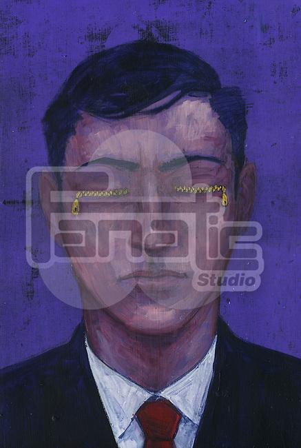 Illustrative image of businessman with zipped eyes representing ignorance