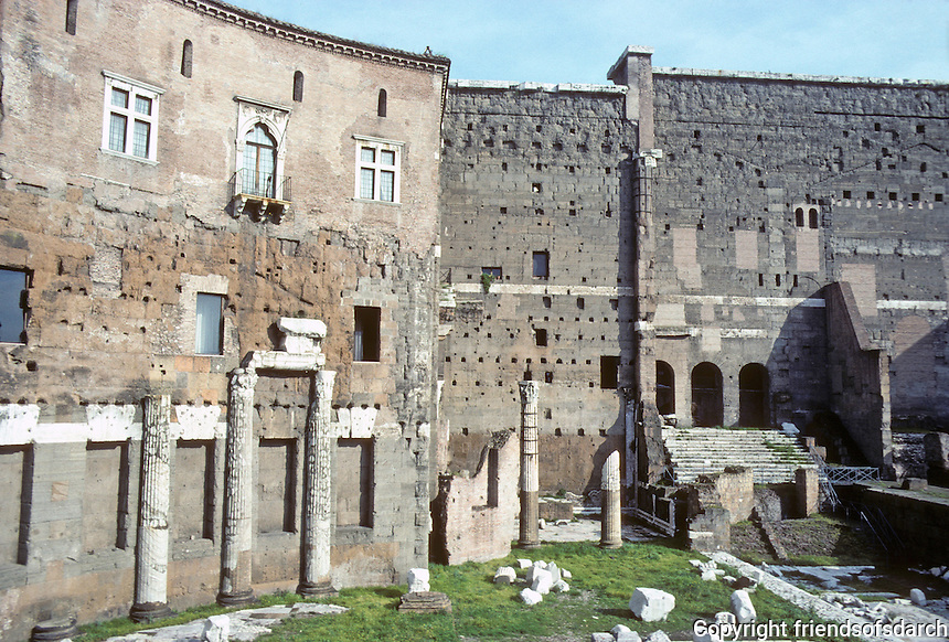 "Italy: Rome--Forum of Trajan, Ruins of Trajan Market. Of the curvilinear walls, the guidebook says Bernini ""most probably"" influenced in designing Piazza S. Pietro. Photo '82."