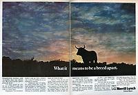 Merrill Lynch print ads, 'A Breed Apart,' 1979, Young & Rubicam. Photograph by John G. Zimmerman.