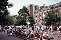 Many students sit on the steps near the Lenoir Dining Hall on the campus of the University of North Carolina in Chapel Hill. Chapel Hill North Carolina.