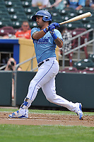 Omaha Storm Chasers second baseman Humberto Arteaga (13) swings at a pitch against the Oklahoma City Dodgers at Werner Park on June 24, 2018 in Omaha, Nebraska. Omaha won 8-0.  (Dennis Hubbard/Four Seam Images)