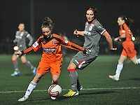 20131017 - GLASGOW , SCOTLAND :  Glasgow's Sarah Crilly (left) pictured with Standard's Cecile De Gernier in her back during the female soccer match between GLASGOW City Ladies FC and STANDARD Femina de Liege , in the 1/16 final ( round of 32 ) second leg in the UEFA Women's Champions League 2013 in Petershill Park in Glasgow. First leg ended in a 2-2 draw . Thursday 17 October 2013. PHOTO DAVID CATRY