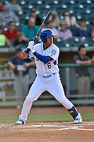 Tennessee Smokies center fielder Albert Almora Jr. (6) awaits a pitch during a game against the Mobile BayBears on May 27, 2015 in Kodak, Tennessee. The Smokies defeated the BayBears 3-2. (Tony Farlow/Four Seam Images)