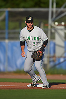 Clinton LumberKings first baseman Pat Leyland (23) during a game against the Burlington Bees on August 20, 2015 at Community Field in Burlington, Iowa.  Burlington defeated Clinton 3-2.  (Mike Janes/Four Seam Images)