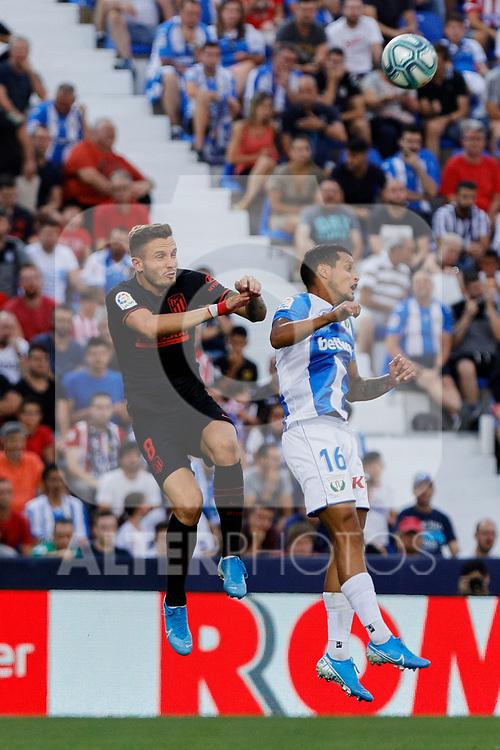 CD Leganes's Roberto Rosales and Atletico de Madrid's Saul Niguez during La Liga match between CD Leganes and Atletico de Madrid at Butarque Stadium in Madrid, Spain. August 25, 2019. (ALTERPHOTOS/A. Perez Meca)
