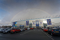 Pictured: A rainbow appears over the Cardiff City Stadium in south Wales, UK. Tuesday 22 January 2019<br /> Re: Premier League footballer Emiliano Sala was on a flight which disappeared between France and Cardiff.<br /> The Argentine striker was one of two people on board the Piper Malibu, which disappeared off Alderney on Monday night.<br /> Cardiff City FC, signed the 28-year-old from French club Nantes.<br /> A search is under way.<br /> A Cardiff Airport spokeswoman confirmed the aircraft was due to arrive from Nantes but said there were no further details.<br /> HM Coastguard has sent two helicopters to help.