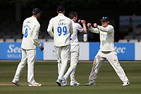 Matt Salisbury of Durham celebrates with his team mates after taking the wicket of Dan Lawrence during Essex CCC vs Durham CCC, LV Insurance County Championship Group 1 Cricket at The Cloudfm County Ground on 15th April 2021