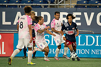 """FOXBOROUGH, MA - SEPTEMBER 04: Adolfo """"Fito"""" Ovalle #5 Forward Madison FC advances to tackle Hikaru Fujiwara #53 of New England Revolution II during a game between Forward Madison FC and New England Revolution II at Gillette Stadium on September 04, 2020 in Foxborough, Massachusetts."""