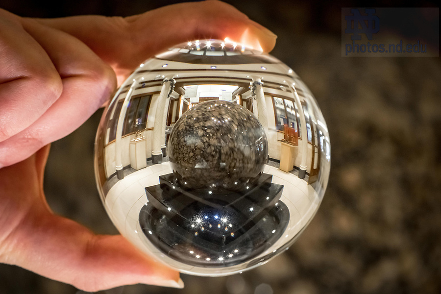December 11, 2017; Coleman Morse ball sculpture refracted in a crystal ball. 10 of 12 (Photo by Matt Cashore/University of Notre Dame)