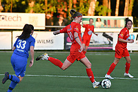 Marie Bougard (10) of Woluwe in action during a female soccer game between  Racing Genk Ladies and White Star Woluwe on the 8 th matchday of play off 2 in the 2020 - 2021 season of Belgian Scooore Womens Super League , tuesday 18 th of May 2021  in Genk , Belgium . PHOTO SPORTPIX.BE | SPP | JILL DELSAUX
