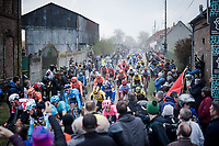 peloton over the  first cobble section<br /> <br /> 117th Paris-Roubaix 2019 (1.UWT)<br /> One day race from Compiègne to Roubaix (FRA/257km)<br /> <br /> ©kramon