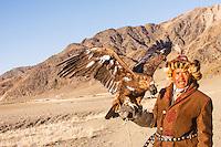Asia Mongolia, Altai mountain,Saikhsai, the hunter ,60 old Saelikhan with his 3 years old eagle Tastulukh