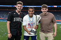 DENVER, CO - JUNE 6: Tyler Adams celebrates winning the CONCACAF Nations League Cup during a game between Mexico and USMNT at Mile High on June 6, 2021 in Denver, Colorado.