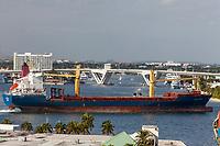 Ft. Lauderdale, Florida.  Container Ship Avra Miteras Leaving Port Everglades.