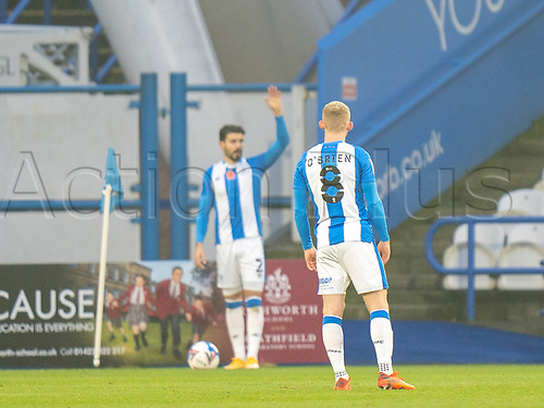 7th November 2020 The John Smiths Stadium, Huddersfield, Yorkshire, England; English Football League Championship Football, Huddersfield Town versus Luton Town;  Lewis O'Brien of Huddersfield Town watches as Pipa of Huddersfield Town signals from corner