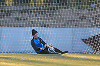 goalkeeper Maren van Wijngaarden (50) of KRC Genk warming up before a female soccer game between FC Femina White Star Woluwe and KRC Genk on the third matchday of play off 2 in the 2020 - 2021 season of Belgian Scooore Womens Super League , Friday 23 th of April 2021  in Woluwe , Belgium . PHOTO SPORTPIX.BE | SPP | SEVIL OKTEM