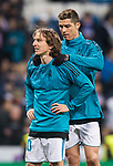 Cristiano Ronaldo of Real Madrid gives teammate Luka Modric a should massage prior to the UEFA Champions League 2017-18 Round of 16 (1st leg) match between Real Madrid vs Paris Saint Germain at Estadio Santiago Bernabeu on February 14 2018 in Madrid, Spain. Photo by Diego Souto / Power Sport Images