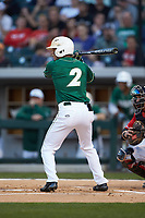 Reece Hampton (2) of the Charlotte 49ers at bat against the Georgia Bulldogs at BB&T Ballpark on March 8, 2016 in Charlotte, North Carolina. The 49ers defeated the Bulldogs 15-4. (Brian Westerholt/Four Seam Images)