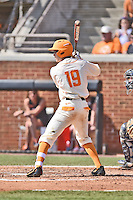 Tennessee Volunteers shortstop Max Bartlett (19) awaits a pitch during game one of a double header against the UC Irvine Anteaters at Lindsey Nelson Stadium on March 12, 2016 in Knoxville, Tennessee. The Volunteers defeated the Anteaters 14-4. (Tony Farlow/Four Seam Images)