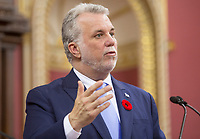 Quebec Premier Philippe Couillard speaks at the National Assembly in Quebec city, Tuesday November 4, 2014.<br /> <br /> PHOTO :  Francis Vachon - Agence Quebec Presse