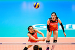 Xiangyu Gong of China passes the ball during the FIVB Volleyball Nations League Hong Kong match between China and Argentina on May 29, 2018 in Hong Kong, Hong Kong. Photo by Marcio Rodrigo Machado / Power Sport Images