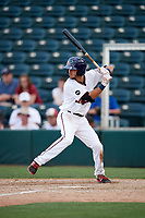 Fort Myers Miracle second baseman Alex Perez (2) at bat during a game against the Jupiter Hammerheads on April 9, 2017 at CenturyLink Sports Complex in Fort Myers, Florida.  Jupiter defeated Fort Myers 3-2.  (Mike Janes/Four Seam Images)