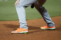 A closeup of the Adidas cleats worn by Grant Witherspoon (22) of the Bowling Green Hot Rods during the game against the Winston-Salem Dash at Truist Stadium on September 9, 2021 in Winston-Salem, North Carolina. (Brian Westerholt/Four Seam Images)