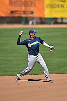 Gilbert Lara (6) of the Helena Brewers throws to first base between innings against the Ogden Raptors in Pioneer League action at Lindquist Field on July 16, 2016 in Ogden, Utah. Ogden defeated Helena 5-4.  (Stephen Smith/Four Seam Images)