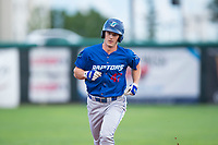 Ogden Raptors center fielder James Outman (47) rounds the bases after hitting a home run during a Pioneer League game against the Orem Owlz at Home of the OWLZ on August 24, 2018 in Orem, Utah. The Ogden Raptors defeated the Orem Owlz by a score of 13-5. (Zachary Lucy/Four Seam Images)