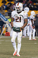 Miami defensive back Antonio Crawford. The Miami Hurricanes defeated the Pitt Panthers 41-31 at Heinz Field, Pittsburgh, Pennsylvania on November 29, 2013.