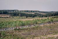 peloton making their way south towards Bastogne over 1 of the highest points in Belgium: the Baraque de Fraiture (651m)<br /> <br /> 104th Liège - Bastogne - Liège 2018 (1.UWT)<br /> 1 Day Race: Liège - Ans (258km)