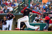Rochester Red Wings Victor Robles (15) bats during a game against the Worcester Red Sox on September 4, 2021 at Frontier Field in Rochester, New York.  (Mike Janes/Four Seam Images)