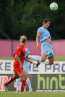 Yael Averbuch (10) of Sky Blue FC heads the ball. Sky Blue FC and the Washington Freedom played to a 4-4 tie during a Women's Professional Soccer match at Yurcak Field in Piscataway, NJ, on July 15, 2009.