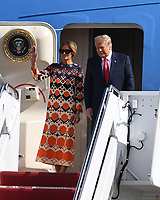 President Donald Trump and First Melania Trump arrive on Airforce One at Palm Beach International