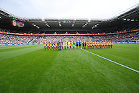 Fifa Women's World Cup Germany 2011 : Brazil - Australia  at Borussia - Park in Munchengladbach : hymnes at the kick-off . wideangle picture.foto DAVID CATRY / Vrouwenteam.be